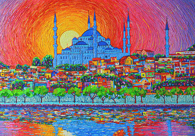 City Sunset Painting - Fiery Sunset Over Blue Mosque Hagia Sophia In Istanbul Turkey by Ana Maria Edulescu