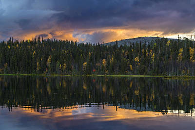 Fiery Sunset Over Lake In Finland, Lapland Art Print