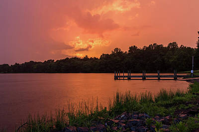 Photograph - Fiery Sunset Over Lake by Lori Coleman