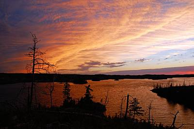 Fiery Sunset Over Seagull Lake Art Print by Larry Ricker