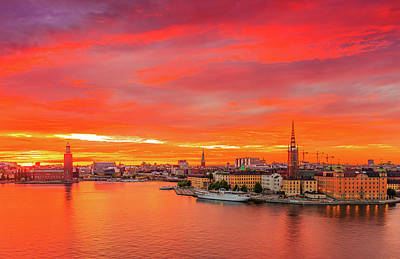 Photograph - Fiery Sunset Over Stockholm by Dejan Kostic
