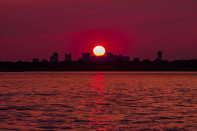 Photograph - Fiery Sunset Over The Boston Waterfront by Brian MacLean