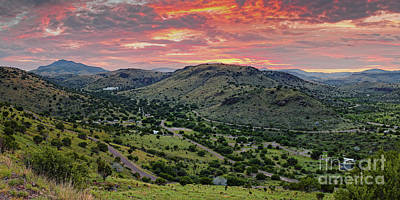 Photograph - Fiery Sunset Panorama Over Davis Mountains State Park - Keesey Canyon Blue Mountain Limpia Canyon - by Silvio Ligutti
