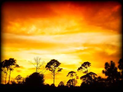 Fiery Sunset Art Print by Rich Leighton