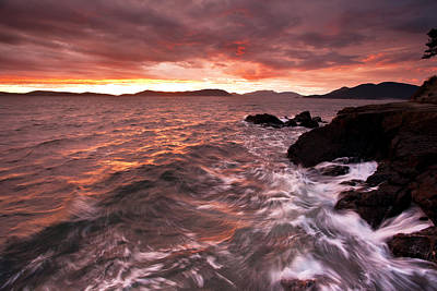 Anacortes Photograph - Fiery Surf by Mike Reid