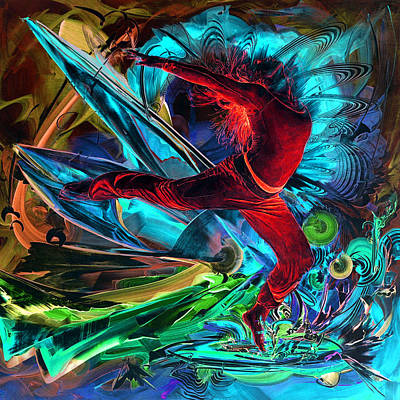 Intergalactic Painting - Fiery-breaking Through by Susan Card