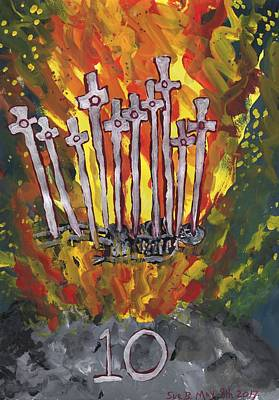 Pyre Painting - Fiery Ten Of Swords Illustrated by Sushila Burgess