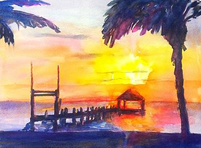 Painting - Fiery Tropical Sunset Overwater Bungalow by Carlin Blahnik CarlinArtWatercolor