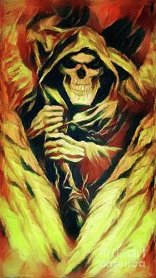 Grim Digital Art - Fiery Winged Reaper by Putterhug Studio