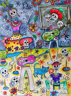 Hello Kitty Painting - Fiesta Calaveras by Pristine Cartera Turkus