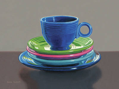 Fiestaware Painting - Fiesta Cup With Plates by Nance Danforth