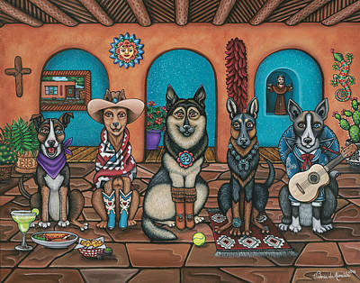 Guitar Player Painting - Fiesta Dogs by Victoria De Almeida