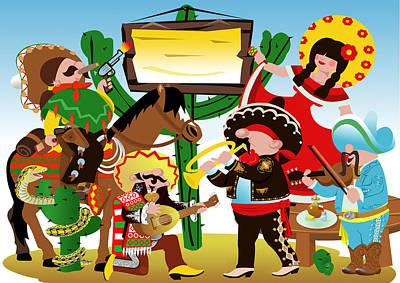 Poncho Digital Art - Fiesta Mexicana by Stet Mihail Angelo
