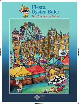 Painting - Fiesta Oyster Bake Poster 2017 by Patti Schermerhorn
