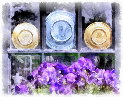 Fiestaware Photograph - Fiestaware Window Display With Pansies by Betty Denise