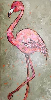 Painting - Fifi Flamingo by Phiddy Webb