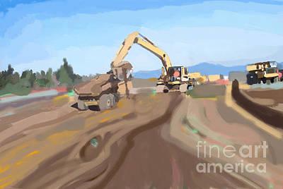 Bulldozer Painting - Fifteenth Street Napa by Brad Burns
