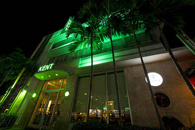 Photograph - Fifth Ave At Night Miami Florida Art Deco The Kent by Toby McGuire