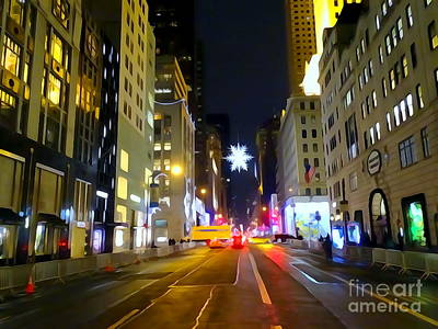 Mixed Media - Fifth Ave Late Nite by Ed Weidman
