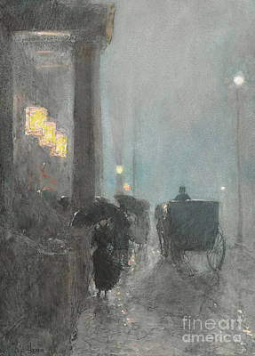 Coach Horses Painting - Fifth Avenue, Evening by Childe Hassam