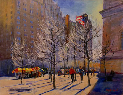 Painting - Fifth Avenue - Late Winter At The Met by Peter Salwen