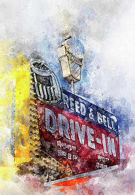 Photograph - Fifties Drive In Water Color by Rospotte Photography