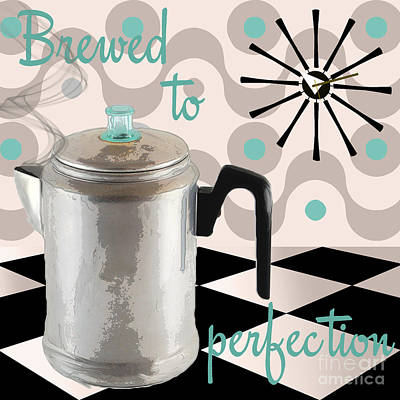 Retro Painting - Fifties Kitchen Coffee Pot Perk Coffee by Mindy Sommers