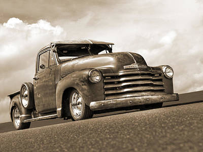 Fifties Rust - 1951 Chevy In Sepia Art Print