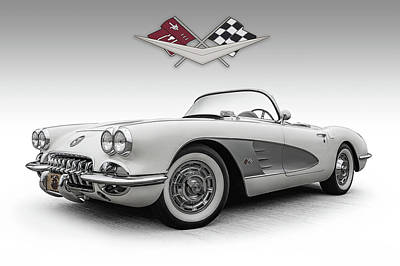 Digital Art - Fifty-eight Corvette by Douglas Pittman