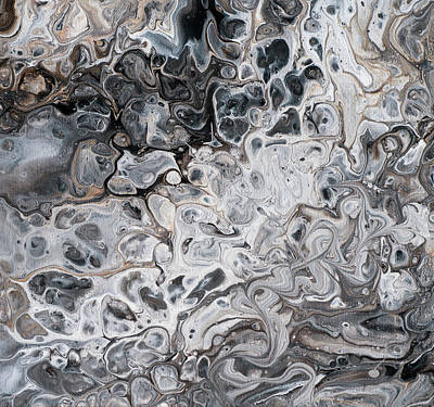 Fifty Shades Of Grey.  Abstract Fluid Acrylic Painting Original