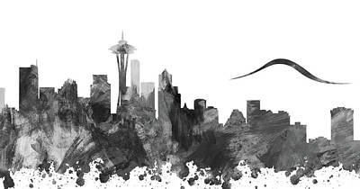 Abstract Skyline Digital Art Rights Managed Images - Fifty Shades Of Seattle Grey Royalty-Free Image by Ricky Barnard