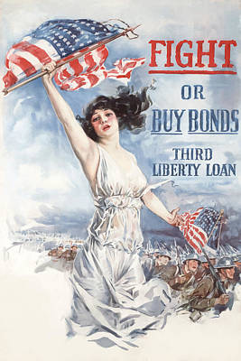Liberty Painting - Fight Or Buy Bonds by War Is Hell Store