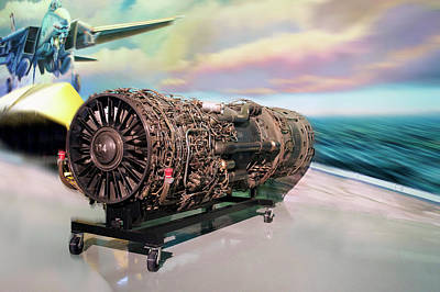 Warbird Mixed Media - Fighter Jet Engine by Thomas Woolworth