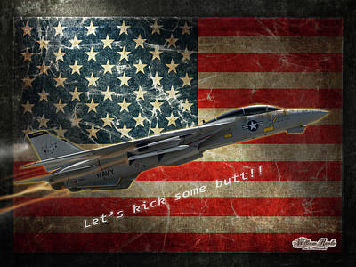 Digital Art - Fighter Jet F14 Kick Butt by William Havle