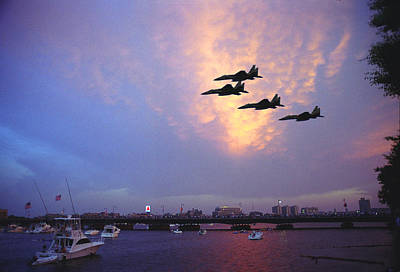 Fighter Jets Over Boston Art Print by Rose Martin