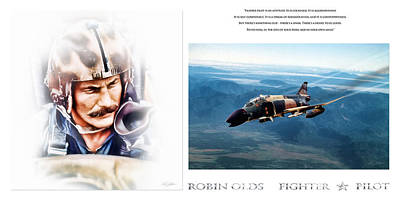 Comand Digital Art - Robin Olds Fighter Pilot by Peter Chilelli