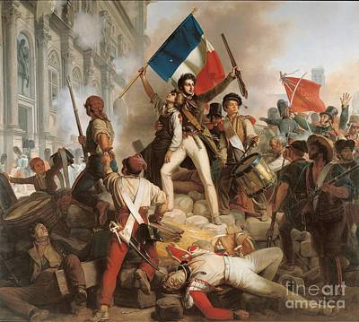 Flags Painting - Fighting At The Hotel De Ville by Jean Victor Schnetz