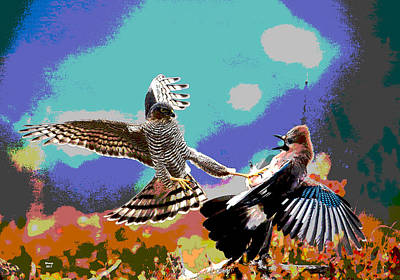 Sandpiper Mixed Media - Fighting Birds by Charles Shoup