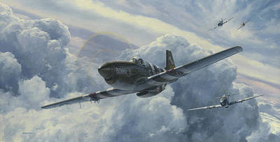 B-17 Wall Art - Painting - Fighting Cobras by Wade Meyers