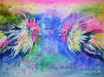 Painting - Fighting Cocks by Zaira Dzhaubaeva