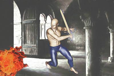 Digital Art - Fighting Dragons by John Haldane