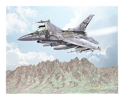 Painting - Fighting Falcon F 16 by Jack Pumphrey