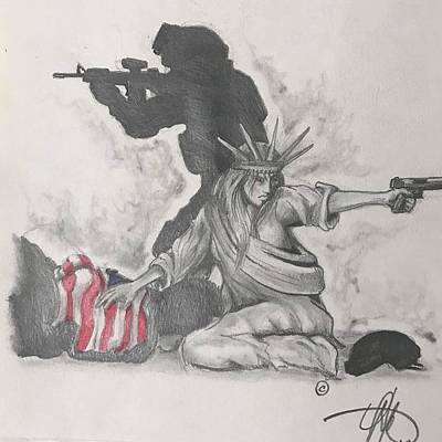 Soldier Wall Art - Drawing - Fighting For Liberty  by Howard King