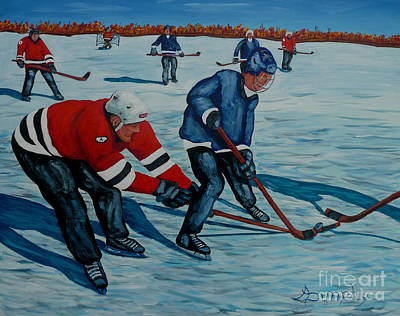 Painting - Fighting For The Puck by Anthony Dunphy