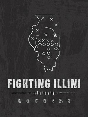 Fighting Illini / Ncaa College Football Art / Champaign Illinois Art Print by Damon Gray