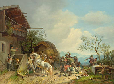 Painting - Fighting In Front Of A Tavern by Heinrich Burkel