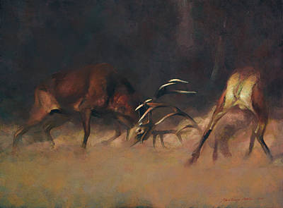Painting - Fighting Stags I. by Attila Meszlenyi