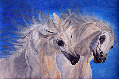 Fighting Stallions Print by ELA-EquusArt