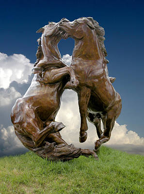 Fighting Stallions Art Print