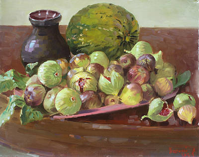 Plates Painting - Figs And Cantaloupe by Ylli Haruni